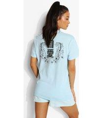 oversized t-shirt met rugopdruk, light blue