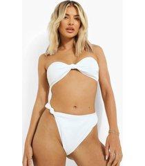 geribbeld geknoopt hoog uitgesneden bikini broekje, white