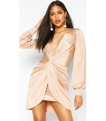tall wrap front slinky dress, champagne