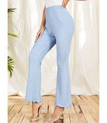 yoins pantalones casuales de cintura alta de punto acanalado azul