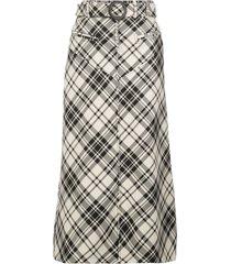ellery check belted a-line skirt - black