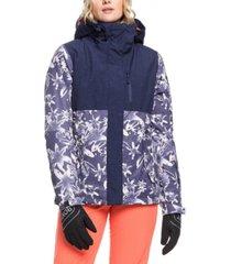 roxy juniors' jetty colorblocked hooded active jacket