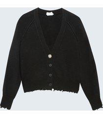 motivi cardigan corto con bottone gioiello misto cashmere donna nero