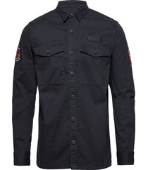 core military patched l/s shirt overhemd casual blauw superdry