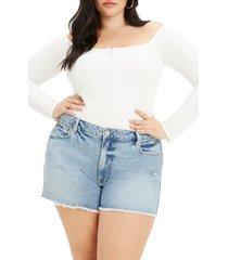 plus size women's good american convertible neck half zip thong bodysuit, size 5 - ivory