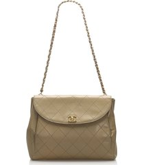 chanel wild stitch leather shoulder bag brown, beige sz: m