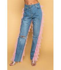 akira kiki riki best in show denim pants with tulle