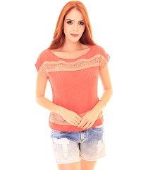 blusa sideral com renda laranja