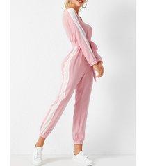 yoins rosa cordones diseño patchwork cuello en v manga larga mono