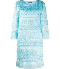 alberta ferretti tiered fringe dress - blue