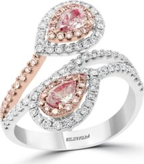 effy limited edition pink & white diamond (1 ct. t.w.) double pear teardrop ring in 14k white & rose gold