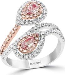 effy pink & white diamond (1 ct. t.w.) double pear teardrop ring in 14k white & rose gold