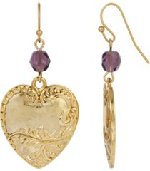 2028 women's gold tone heart purple beaded drop wire earring