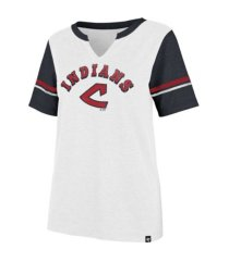'47 brand cleveland indians women's coop match notch t-shirt