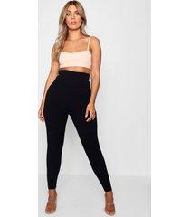 plusmaat legging met ondersteuning in de taille, zwart