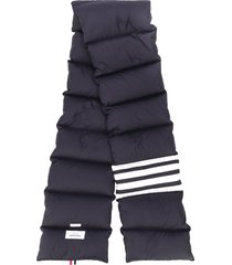 thom browne stripe quilted scarf - blue