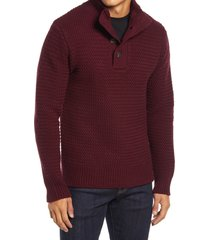 schott nyc military henley sweater, size small in burgundy at nordstrom