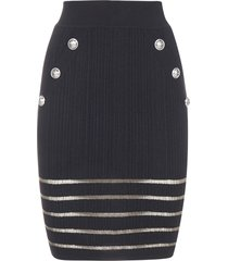 balmain sheer striped and buttoned viscose stretch skirt