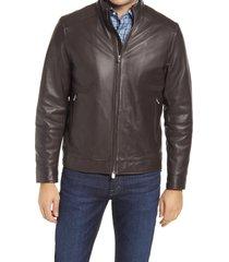 men's peter millar anniversary lambskin leather bomber jacket, size medium - brown