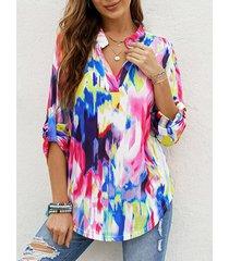 camicetta allentata a maniche lunghe con scollo a v tie dye multicolore