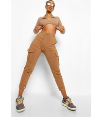 extra lange vinyl broek met split en hoge taille, camel