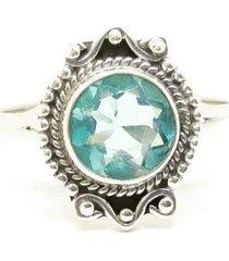 anel lolla925 água marinha topázio azul chic boho prata 925