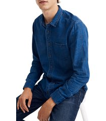 men's madewell textured plaid indigo long sleeve shirt