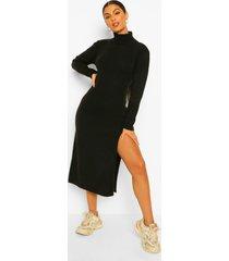 gebreide jurk met zijsplit en col, black