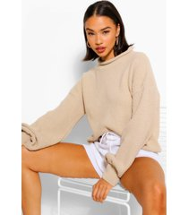balloon sleeve oversized sweater, stone