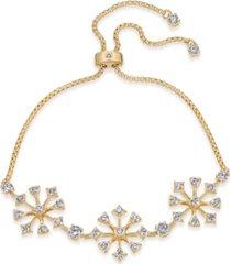 eliot danori gold-tone cubic zirconia cluster slider bracelet, created for macy's