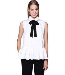 bluzka koszulowa z falbanką i kokardą