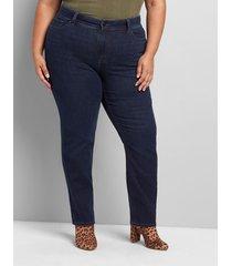 lane bryant women's curvy fit high-rise straight jean - dark wash 12p dark wash