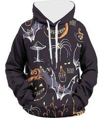 halloween funny pumpkin graphic pullover pocket hoodie