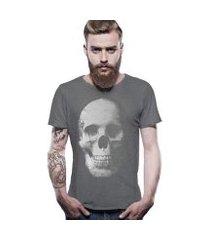 camiseta joss estonada corte à fio caveira masculina