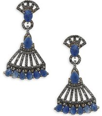 blue sapphire, champagne diamond and sterling silver earrings