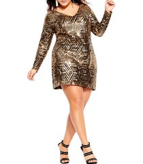 plus size women's city chic bright lights dress, size small - metallic