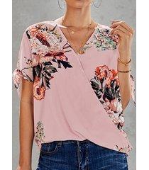 camicetta con stampa floreale leopardata con scollo a v a maniche corte annodata per donna