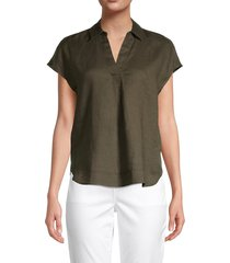 pure navy women's popover linen shirt - olive - size s