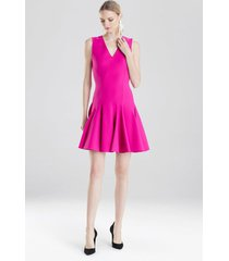 knit crepe flare dress, women's, pink, size 2, josie natori