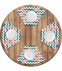 jogo americano love decor para mesa redonda wevans listras coloridas kit com 4 pçs