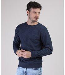 blusão masculino básico em moletom gola careca azul escuro