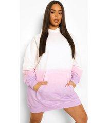 ombre tie dye sweatshirt jurk met capuchon, pink