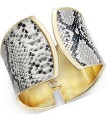 thalia sodi gold-tone faux snakeskin cuff bracelet, created for macy's