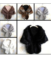 women wedding cape faux fur long shawl stole wrap shrug scarf party warm poncho