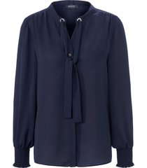 blouse met lange mouwen en blinde knoopsluiting van basler blauw
