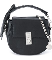 abel & lula bow strap shoulder bag - black
