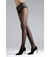 natori feathers lace top tights, women's, black, size l natori