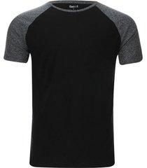 camiseta manga ranglan descanso color negro, talla m