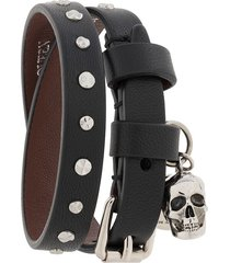 alexander mcqueen skull charm buckle bracelet - black