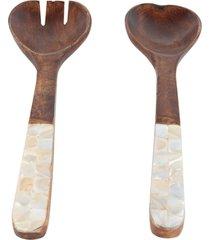 conjunto bon gourmet com 2 talheres de madeira para salada mango madeira - marrom - dafiti